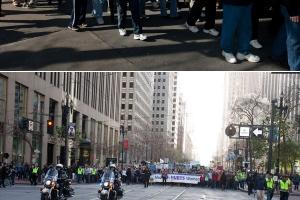 今年的美西「為生命而行」首次選址在三藩市市政廳廣場集會,遊行沿經三藩市最繁華的Market街,從隊頭至隊尾伸延達4、5個街口,聲勢浩大。(圖:基督日報/ Hudson Tsuei) <br/>