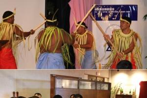 圖上:為期三日的特會節目豐富多彩,有塞班島居民表演當地傳統舞蹈;圖下:與會的基督徒企業家彼此分享交流。(圖:南加州華人全福會) <br/>