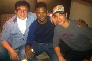 王力宏與美國流行歌手Usher及成龍在洛杉磯見面商討慈善工作。(圖:王力宏臉書) <br/>
