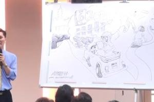 蔡頌輝一筆一筆地畫,一點不含糊,最後一面講一面完成了整幅構圖豐富、內容發人深思的信仰漫畫。 <br/>