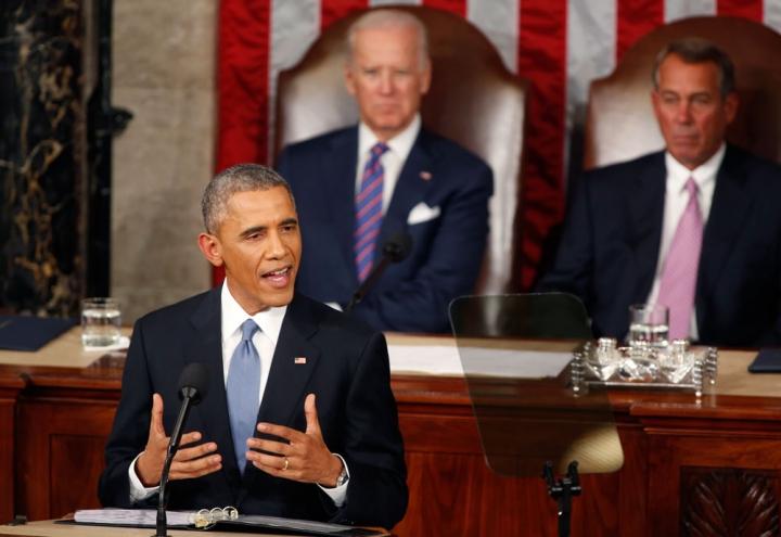 上週二(20日)美國總統奧巴馬發表作爲2015年執政綱領的國情咨文。(圖:REUTERS/LARRY DOWNING)