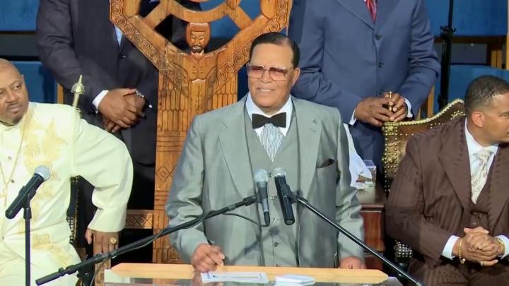 黑人宗教運動組織「伊斯蘭民族」領袖法拉康在演說中指耶和華是活著的神。(圖:網絡)