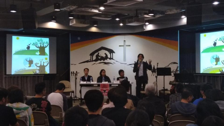 「音樂媒體x新媒體教會」李浩賢先生分享廣東話詩歌面臨的挑戰(圖:敬拜風facebook)