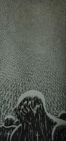《光中的懊悔—萬箭穿心》是衛林經歷神進入生命的板畫創作。(圖:衞林提供)