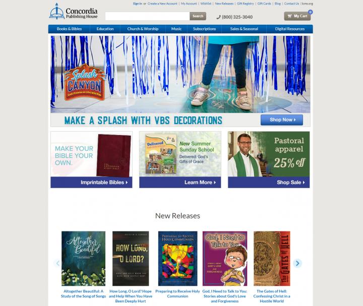 康考迪亞基督教出版社(Concordia Publishing House)的網站截圖.