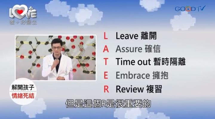 好消息電視台《愛+好醫生》節目近日一集探討了孩子罵粗話這話題。節目主持黃瑽寧醫師提供LATER五字訣,教導父母正確處理孩子情緒。(圖:GoodTV網站截圖)