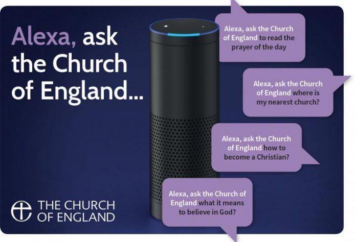 英國聖公會(Church of England)嘗試使用亞馬遜(Amazon)的智能語音助理Alexa幫助人們祈禱、尋找教堂。圖為教會宣傳資料.(Church of England)