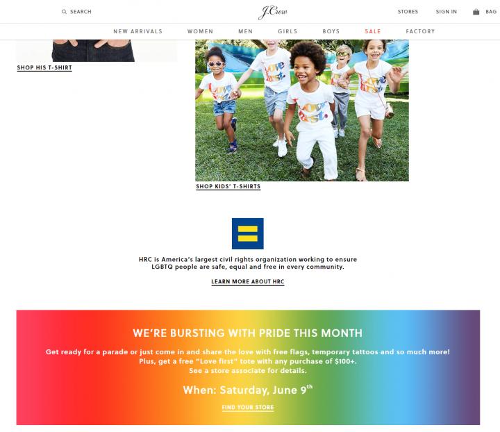J.Crew流行服飾品牌加入了六月份「LGBT自豪月」的行列,出售同性戀標語的T恤來為維權組織籌款,甚至將該主題推廣至兒童市場。(網絡截圖)