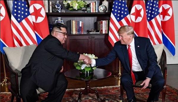 美國總統川普(Donald Trump)和朝鮮獨裁者金正恩(Kim Jong Un)6月12日在新加坡會面。(Instagram/realdonaldtrump)