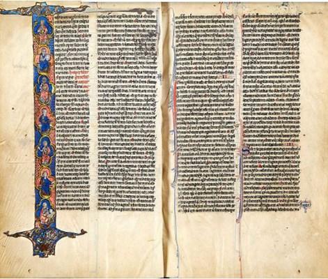 《萊格菲爾德聖經》全書共690頁,口袋大小,羊皮紙上遍佈精美的手繪插圖,被稱為該中世紀藏書系列的「最佳例證」。(圖:Antiques Trade Gazette)