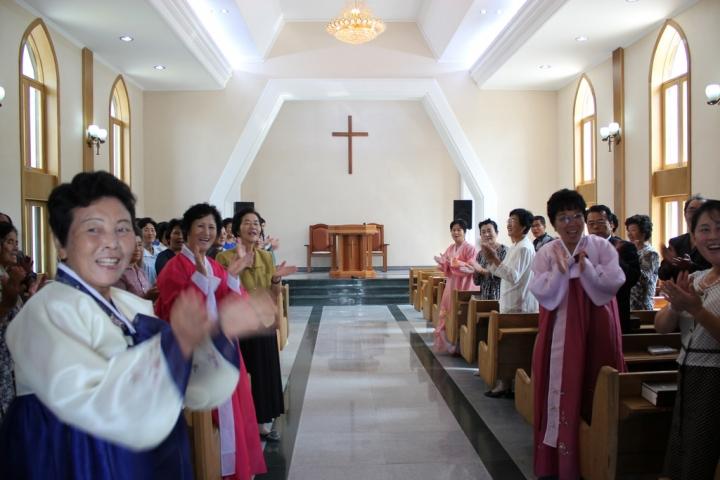 2014年9月14日,北韓平壤教會主日禮拜 (圖:Raymond Cunningham)