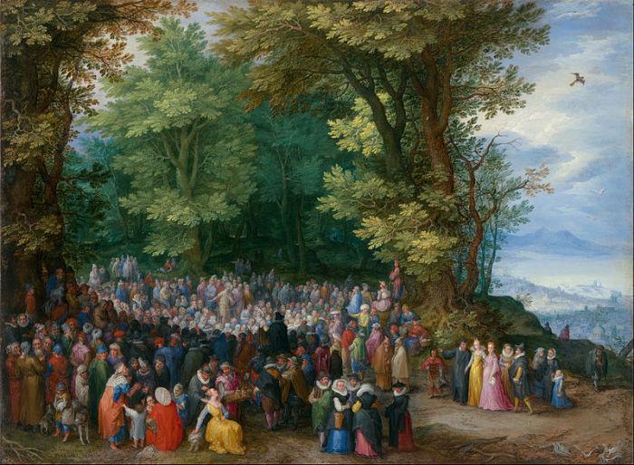 佛蘭德畫家Jan Brueghel1598年油畫《登山寶訓》也被應用到「聖經視覺注釋」項目中。 (圖:維基共享)
