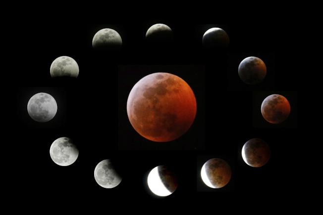 2019年首次「超級血狼月」,在美國洛杉磯看到月全食的過程,中間是完整血月,圍繞在四周的是月全食的景像。(美聯社)