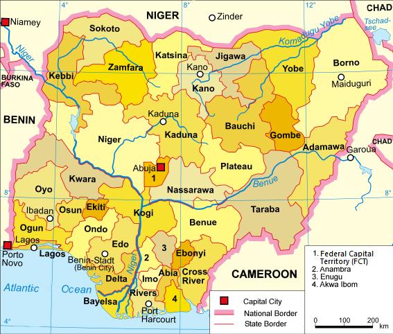 尼日利亞地圖