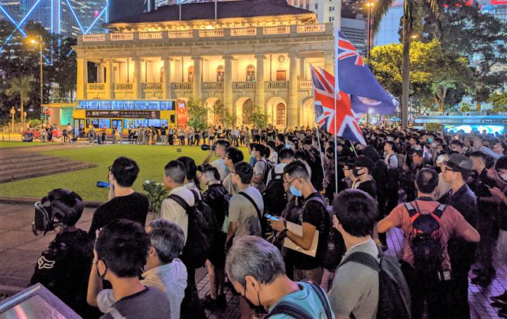 示威者8月30日晚在遮打花園集會紀念香港重光74周年及舉行反修例集會。(圖:Studio Incendo)