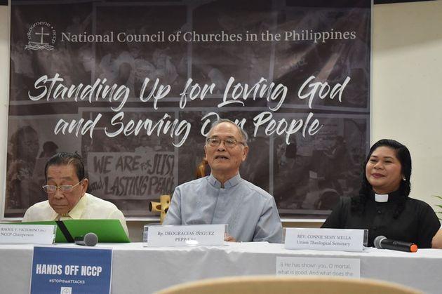 菲律賓全國教會理事會(National Council of Churches in the Philippines)被菲律賓國防部列入恐怖組織名單後召開記者會。(圖:NCCP)
