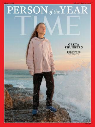 16歲瑞典環保少女通貝里被美國《時代》雜誌選為2019年風雲人物。(圖:Times magazine)