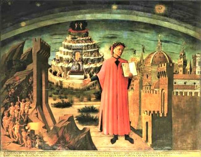《但丁和三重世界》[米切利諾作於1465年]。(圖:網絡圖片)