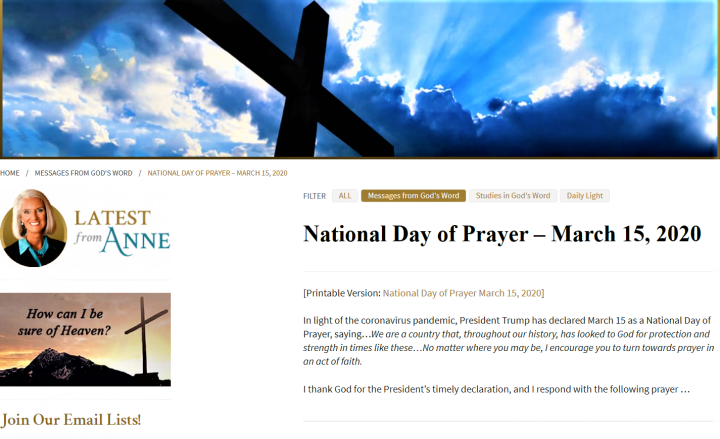安妮·羅茨在博客發禱文。(圖: Anne Graham Lotz Blog)