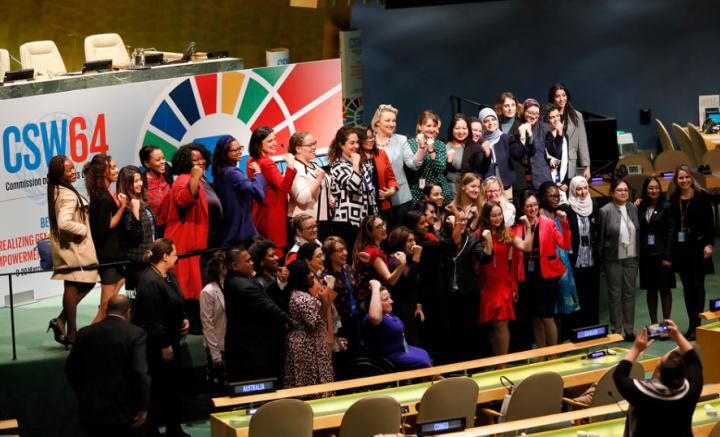 婦女地位委員會第64屆會議通過「政治宣言」同意全面執行《性別平等北京宣言》。(圖:聯合國婦女署)