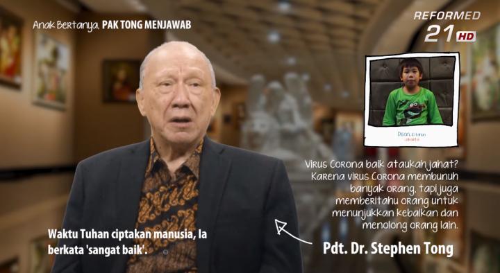 唐崇榮牧師回答小孩對疫病的疑問。(圖:印尼歸正福音教會視頻擷圖)