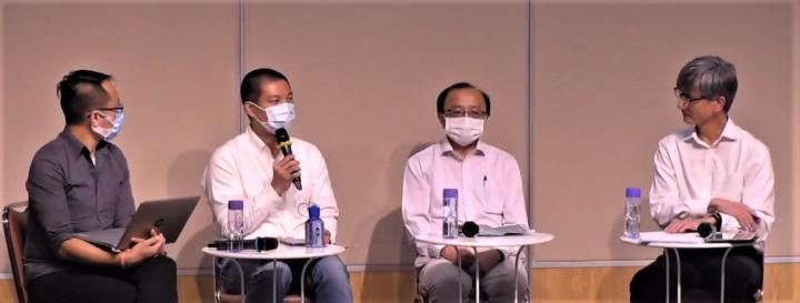 伍敏尊(左一)、呂秉權(左二)、張達明(右二)、李耀坤(右一)。(圖:中神視頻擷圖)