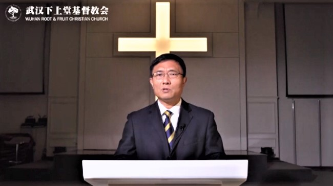 黃磊牧師在教會證道。(圖:武漢下上堂基督教會網站)