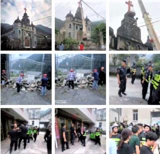 大型吊機將浙江永嘉教堂十字架拆下。(圖:文宗社臉書)