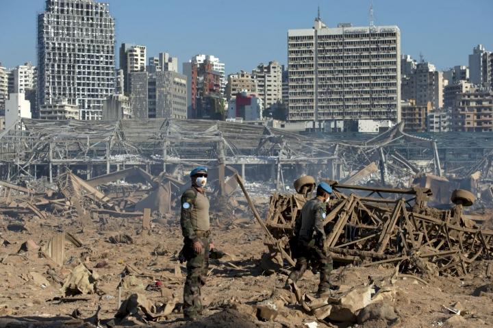 貝魯特港口倉庫大爆炸後一片頹垣敗瓦 。(圖:United Nations)