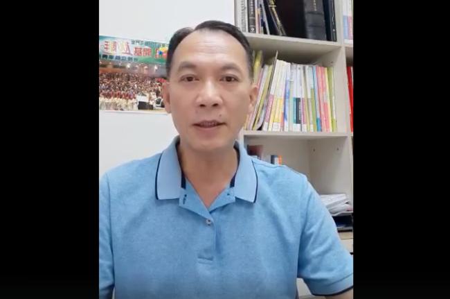 陳勉宜牧師在視頻勉勵信徒不用害怕。(圖:中華基督教會屯門堂臉書擷圖)