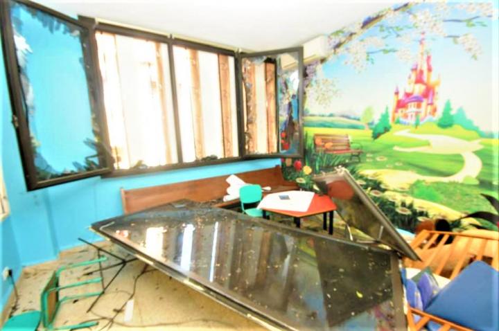 大爆炸後生命中心教堂的課室一片凌亂。(圖: Said Deeb facebook)