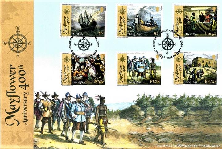 馬恩島郵政發行「五月花號遠航400周年」紀念郵票。(圖:香港郵票策劃及拓展處)