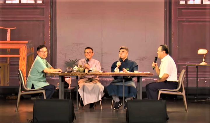 鄭博仁牧師[左一]、松慕強牧師[左二]、莊育銘牧師[右二]、林鴻信教授[右一]。(圖:視頻擷圖)