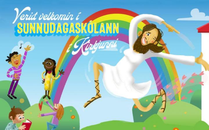 冰島國教會主日學海報顯示穿著白色連衣裙和化妝的大胸脯鬍子耶穌,在彩虹下歡快地跳舞。(圖:網絡圖片)