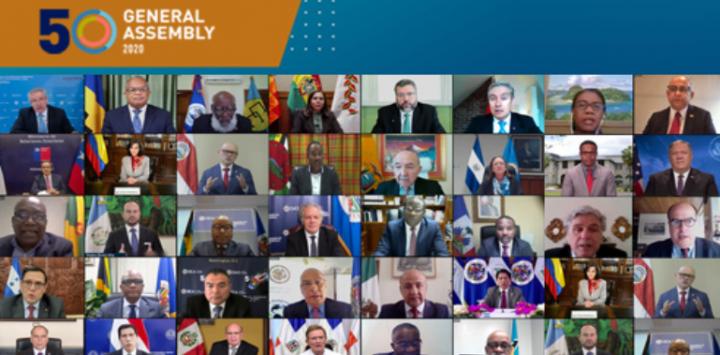 美洲國家組織網上會議。(圖:美洲國家組織網頁)