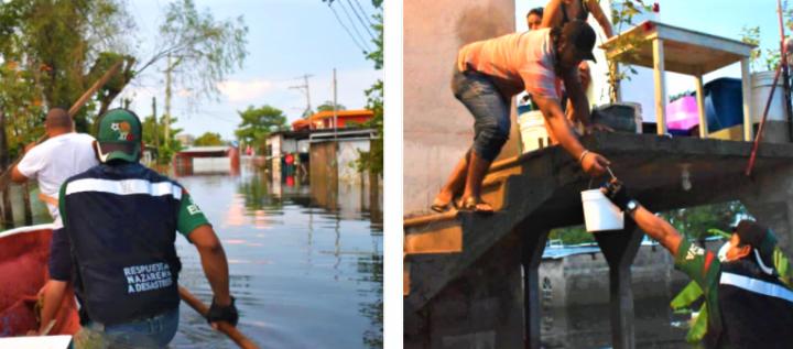 拿撒勒關懷事工人員在水災民房派發物資。(圖:拿撒勒關懷事工臉書)