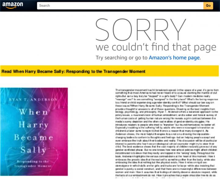 上圖:亞馬遜網站顯示找不到《當哈里變成莎莉》;下圖:《當哈里變成莎莉》一書。(圖:合成圖)
