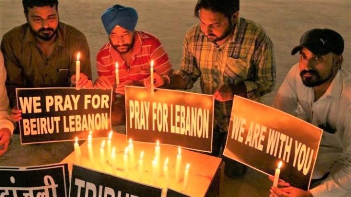 伊拉克教會關心鄰國,加色丁禮教會去年8月為貝魯特港口爆炸事件遇難者舉行祈禱會。(圖:梵蒂岡網)