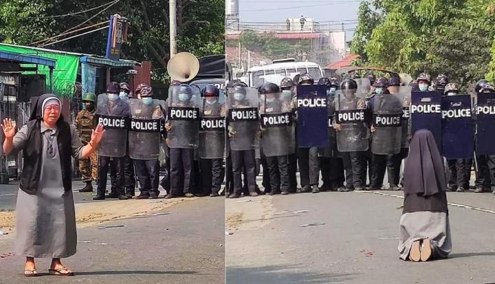 修女Ann Nu Thawng流淚跪求警察停止逮捕示威者。(圖:貌波 Twitter)