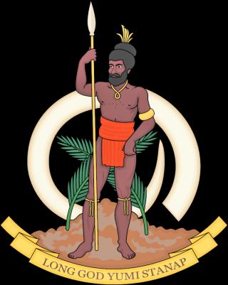 瓦努阿圖國徽文字中譯為「靠主堅立」(圖:維基百科)
