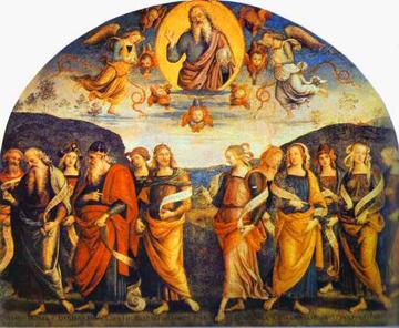 15世紀意大利文藝復興時期畫家彼得羅·佩魯吉諾 (Pietro Perugino) 的濕壁畫《全能的先知與女先知西比拉》。(圖:網絡圖片)