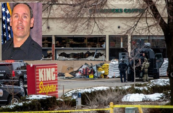 槍擊案殉職警官及超市。(組合圖)
