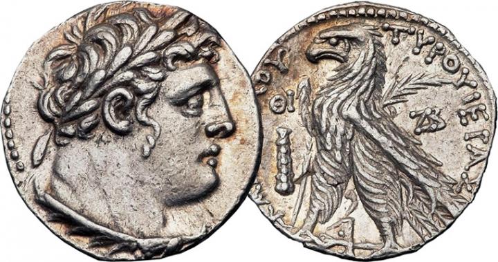 公元前125年至公元66年的銀幣提爾[Tyre]。(圖:網絡圖片)