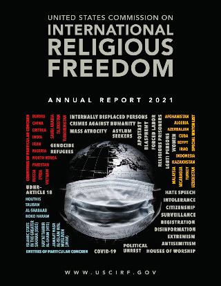 《2021年度報告》左上角紅色字是14個列為「特別關注」的國家。(圖:美國國際宗教自由委員會網頁)