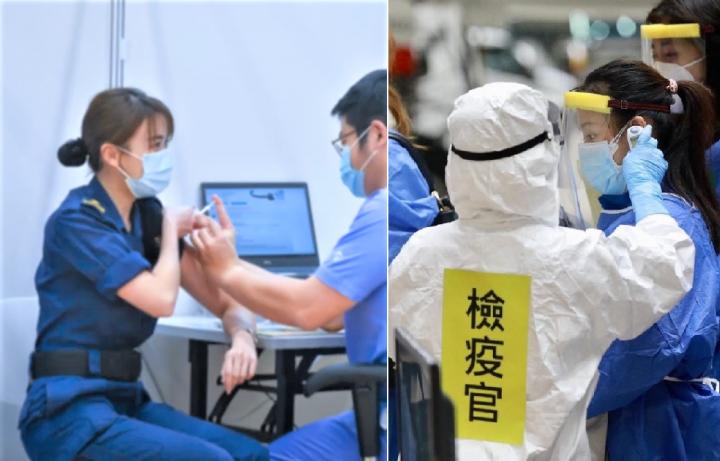 香港關員接種疫苗[左]台灣機場檢疫[右]。(組合圖)