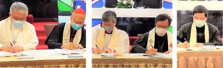 五基督教領袖簽署《聯合聲明》,左起:張振華監督、湯漢樞機、陳謳明大主教、林崇智牧師、蘇成溢牧師。(圖:基督日報)
