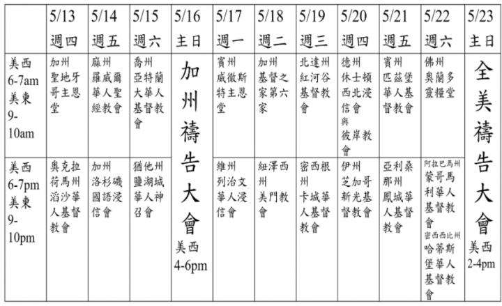十天連鎖禱告會日程表。(圖:華人策略聯盟網頁)