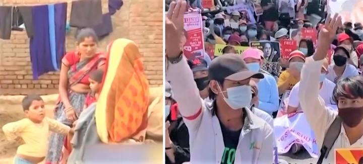 印度村民與緬甸示威者。(圖:視頻擷圖)
