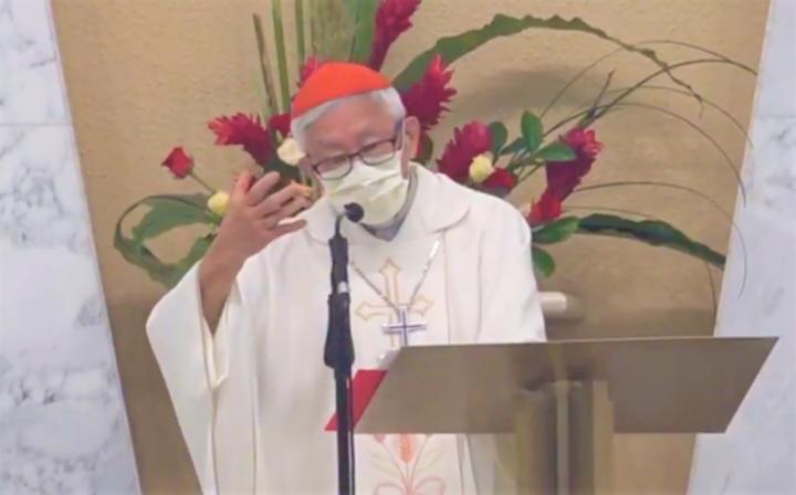 陳日君樞機為中國教會祈禱日講道。(圖:視頻擷圖)