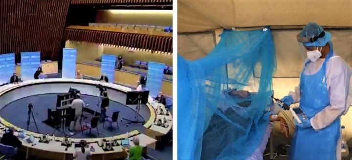 世衛大會2021[左]、也門亞丁新冠肺炎治療中心[右]。(圖:世衛網及紅十字國際委員會)